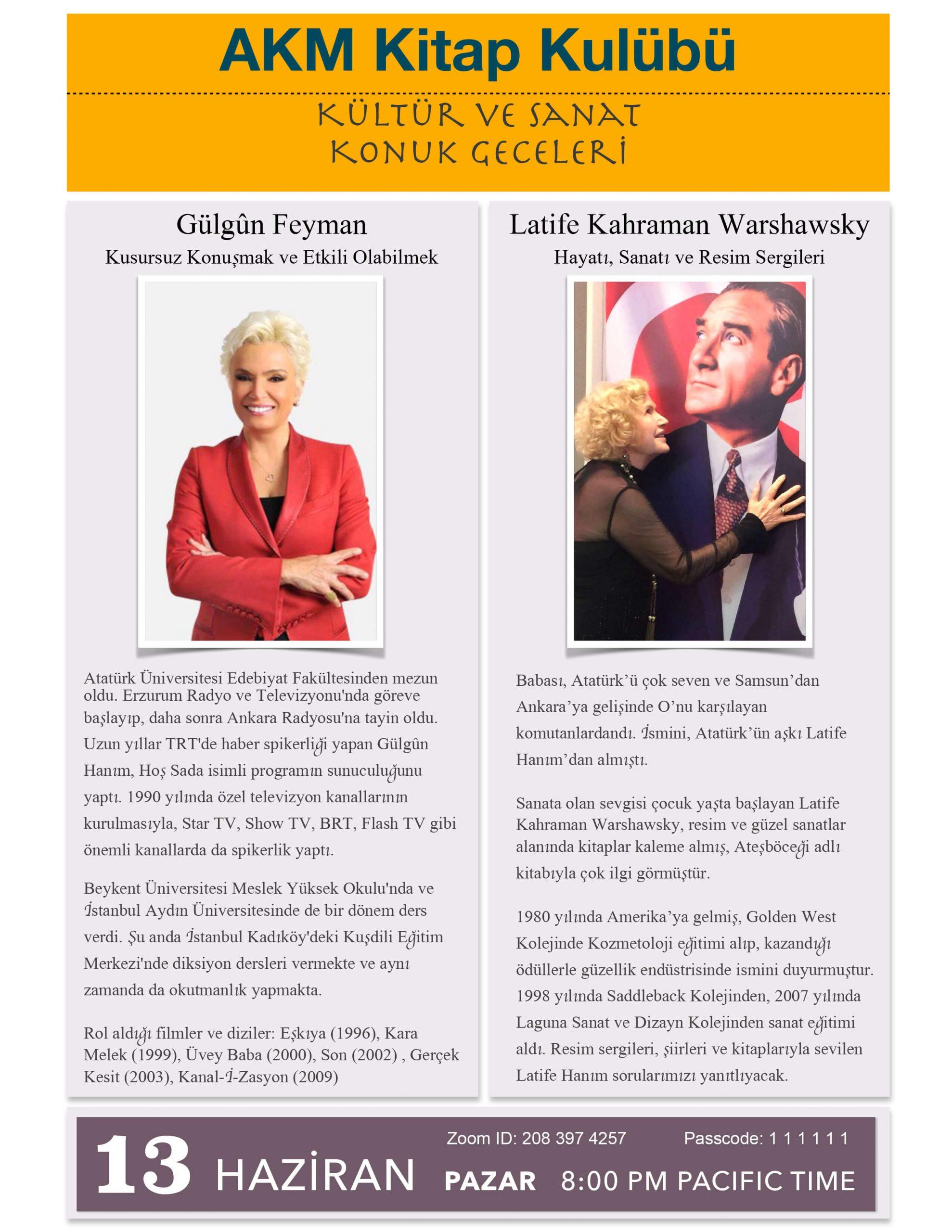 AKM Kitap Kulübü – Gülgûn Feyman ve Latife Warshawski